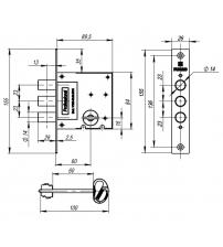 Замок врезной сувальдный FUARO V10/S-60.00.3R14 (4 ключа)