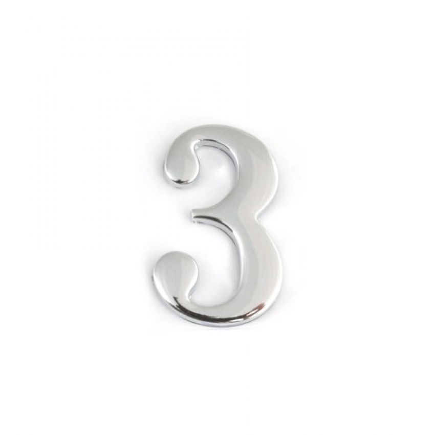 Цифра дверная APECS DN-01-3-Z-CR (хром, самоклеящаяся)