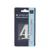Цифра дверная APECS DN-01-4-Z-CR (хром, самоклеящаяся)
