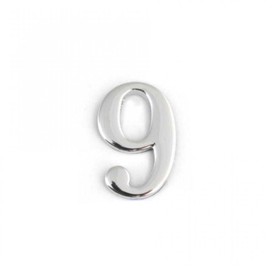 Цифра дверная APECS DN-01-9-Z-CR (хром, самоклеящаяся)