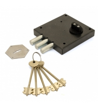 Замок накладной сувальдный KERBEROS 112.11.033 (3 ключа 105 мм., ключ/задвижка)