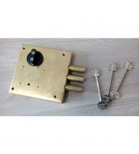 Замок накладной латунный сувальдный KERBEROS 112.11.034 (3 ключа 105 мм., ключ/задвижка)