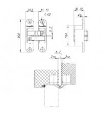 Петля скрытой установки с 3D-регулировкой Architect 3D-ACH 40 BL (чёрный, левая)