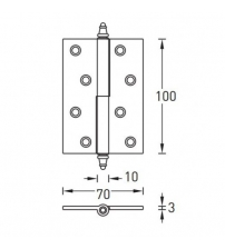 Петля разъёмная латунная ARCHIE A010-D 100X70X3-2U L (матовое золото; с короной; левая)