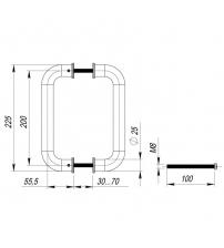Ручка скоба FUARO РН-21-25/200 INOX (нержавеющая сталь)