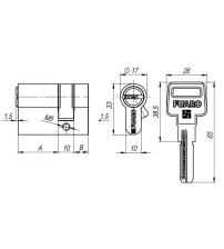 Цилиндровый механизм FUARO R600/40 CP (25+10+5, хром 5 ключей)