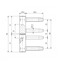 Петля ввёртная AGB E01150.14.04 3-D серия (бихром)