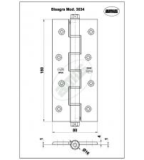 Петля пружинная одинарная AMIG 3034-180*80*4 6586 (бронза)