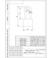 Замок навесной APECS PD-01-32-L (чугун, длинная дужка)