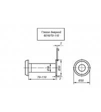 Глазок дверной APECS 6016/70-110-CR (хром, оптика пластик, материал ЦАМ, угол обзора 180ᵒ)