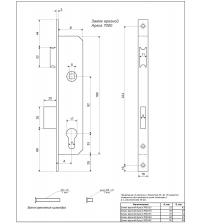 Корпус замка врезного APECS 7000-25-NI (никель, Backset 25 мм, м/о 92 мм)