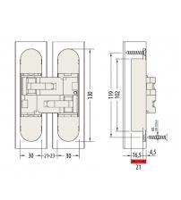 Петля скрытого монтажа ARCHIE SILLUR S-832 P.CHROME (хром)