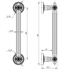Ручка парадная ARMADILLO Matador PULL CL AS-9 (античное серебро, 1 штука)