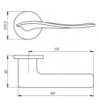 """Ручка раздельная ARMADILLO URBAN Slim """"AQUA"""" URS MWSC-33 (итальянский тиснённый матовый хром)"""