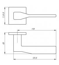 """Ручка раздельная ARMADILLO URBAN Slim """"GRAND"""" USS BPVD-77 (воронёный никель)"""