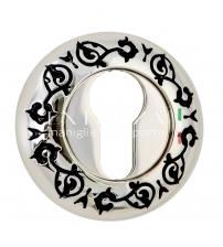 Накладки на цилиндр EXTREZA Classic YALE R04/F24 (натуральное полированное серебро/чёрный)