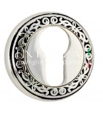 Накладки на цилиндр EXTREZA Classic YALE R06/F24 (натуральное полированное серебро/чёрный)