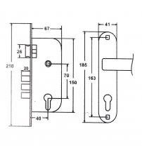 Замок врезной FERRE 1523-М60Z AB (бронза, ц/м 60 мм., ключ/ключ)