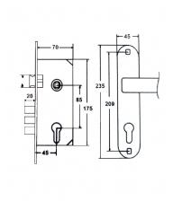 Замок врезной FERRE 2223-М70Z AB (бронза, ц/м 70 мм., ключ/ключ)
