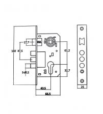 Корпус замка врезного FERRE 9011 SR-3R AB (бронза)