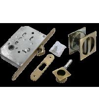 Комплект квадратных ручек для раздвижных дверей с защёлкой MORELLI MHS-2 WC AB (античная бронза)