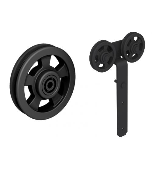 Комплект роликов для раздвижной двери ROC DESIGN LOKI (чёрный матовый, ролик с перфорацией)