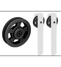 Комплект роликов для раздвижной двери ROC DESIGN THOR (белый матовый, ролик с перфорацией)