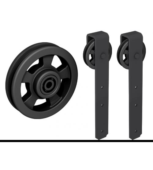 Комплект роликов для раздвижной двери ROC DESIGN THOR (чёрный матовый, ролик с перфорацией)