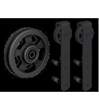 Комплект роликов для раздвижной двери ROC DESIGN THOR GLASS (чёрный матовый, ролик с перфорацией)