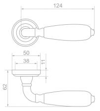 """Ручки дверные ROSSI LD-751-3 """"DALI"""" AG/Crack Ivory (бронза состаренная/фарфор кракелюр слоновая кость)"""