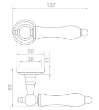 """Ручки дверные ROSSI LD-750-3 """"LAURA"""" AG/ WHITE (бронза состаренная/белый фарфор)"""