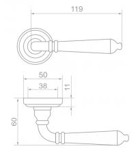 """Ручки дверные ROSSI LD-072-3 """"LYON"""" AG (бронза состаренная)"""