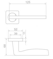 """Ручки дверные ROSSI LD-263-F21 """"MIRRA"""" CS (матовый хром)"""