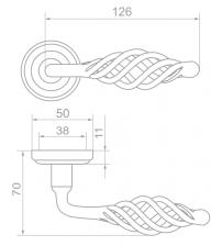 """Ручки дверные ROSSI LD-607-3 """"VINTAGE"""" AS (античное серебро)"""