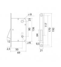 Защёлка магнитная под фиксаторTRODOS M9050 AB (бронза)