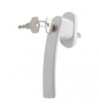 Ручка металлическая для пластиковых окон и дверей с ключом (белая)