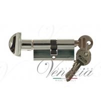 Цилиндровый механизм Venezia-60 25/10/25В (полированный хром, ключ-вертушка)