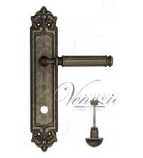 "Дверная ручка на планке Venezia ""MOSCA"" WC-2 PL96 (античное серебро, с фиксатором)"