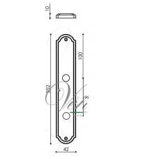 "Дверная ручка на планке Venezia ""ALESSANDRA"" WC-1 PL02 (матовая бронза, с фиксатором)"