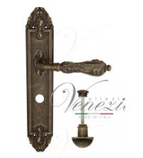 """Дверная ручка на планке Venezia """"MONTE CRISTO"""" WC-2 PL90 (античная бронза, с фиксатором)"""