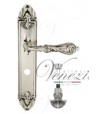 """Дверная ручка на планке Venezia """"MONTE CRISTO"""" WC-4 PL90 (натуральное серебро/чёрный, с фиксатором)"""
