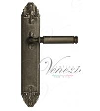 """Дверная ручка на планке Venezia """"MOSCA"""" PASS PL90 (античное серебро, проходная)"""