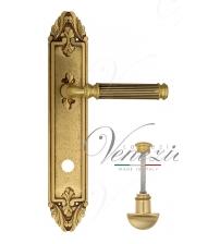 """Дверная ручка на планке Venezia """"MOSCA"""" WC-2 PL90 (французское золото/коричневый, с фиксатором)"""