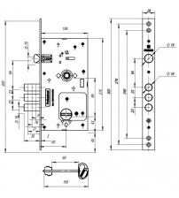 Замок врезной сувальдный с защёлкой FUARO V25/S-60.85.3R16 (4 ключа)