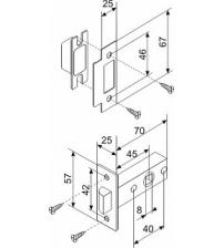 Защёлка врезная FUARO F12-45-25 AB (бронза)