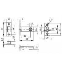 Защёлка врезная FUARO MAGNET M12-50-25 AB (бронза)