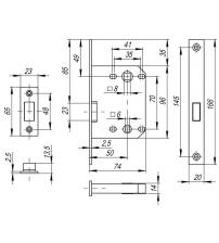 Защёлка врезная FUARO MAGNET M72-50 AB (бронза)
