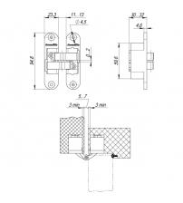 Петля скрытой установки с 3-D регулировкой Architect 3-D ACH 40 SG (матовое золото, левая)