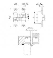 Петля скрытой установки с 3-D регулировкой Architect 3-D ACH 60 SN (матовый никель, левая)