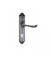 Ручки дверные на планке ARCHIE GENESIS ACANTO BL. SILVER- CL (чернёное серебро, под цилиндр)